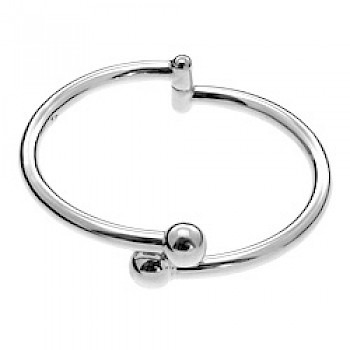 Ball Hinged Silver Bangle - Small Adult/Child