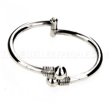 Ball Hinged Silver Childs' Bangle