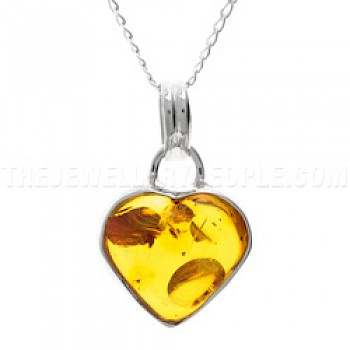 Baltic Amber & Silver Heart Pendant