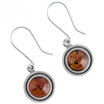 Baltic Amber Silver Drop Earrings - 15mm