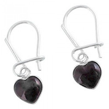 Baltic Amber Silver Heart Drop Earrings - 22mm Long