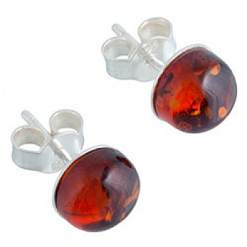 Baltic Amber Silver Stud Earrings - 8mm Wide