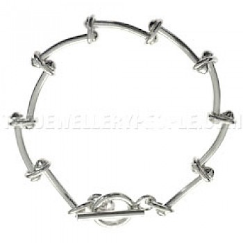 Curved Bar Links Silver Bracelet - Heavy