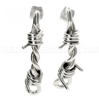 Barbed Wire Silver Earrings - 37mm Long