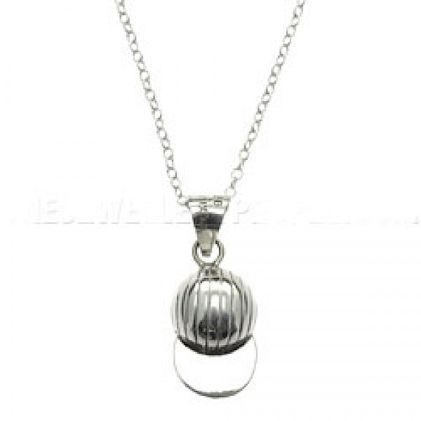 Baseball Cap Silver Pendant - 40mm long