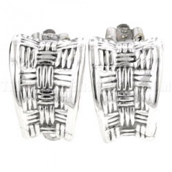 Basket Weave Silver Clip-On Earrings - 18mm
