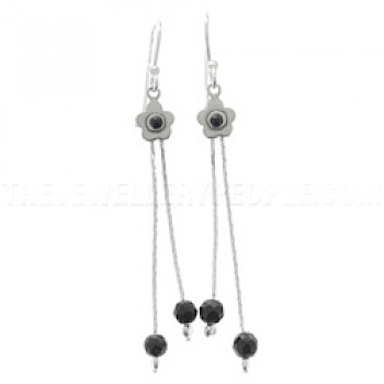 Bead Flower Onyx & Silver Earrings