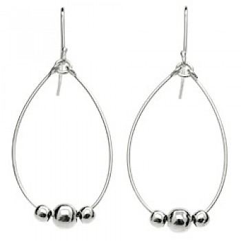 Bead Loop Silver Earrings - 50mm Long