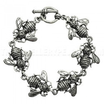 Bees Silver Bracelet - 25mm Wide