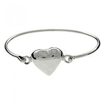 Bell Heart Catch Silver Bangle
