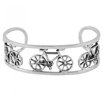 Bicycle Silver Open Bangle - 21mm Wide