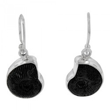 Black Ammonite Fossil & Silver Drop Earrings