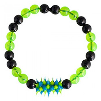 Black & Yellow  Rubber Spike Bead Bracelet