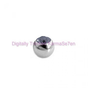 Black Jewelled Surgical Steel Threaded Micro Ball (1.6mm x 4mm)