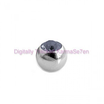 Black Jewelled Surgical Steel Threaded Micro Ball (1.6mm x 5mm)