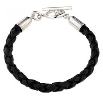 Black Plaited Leather Bracelet - 6mm