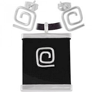 Black Square Spiral Earrings & Suede Necklace Set
