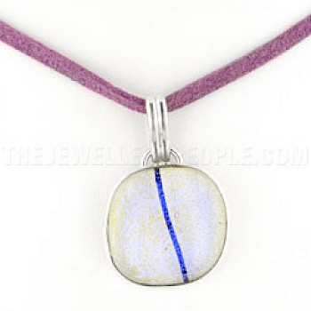 Black Striped Lilac Dichroic Glass & Silver Round Pendant