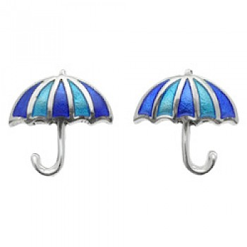 Blue Umbrella Silver Earrings