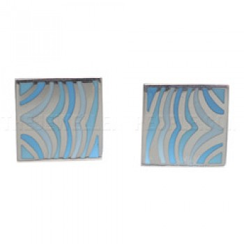 Blue Waves Silver Stud Earrings - 16mm Wide
