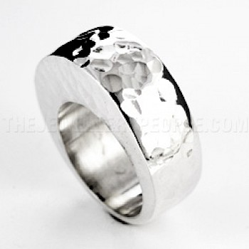 Bold Hammered Silver Ring