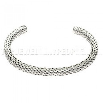 Square-edged Flexible Silver Bangle - 5mm Wide