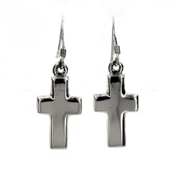Boxed Cross Silver Earrings