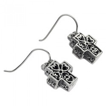 Boxed Heart Filigree Silver Cross Earrings - 22mm Long