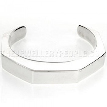 Boxed Hexagonal Open Silver Bangle - 10mm Deep