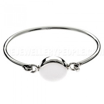 Boxed Oval Catch Silver Bangle - 3mm Solid