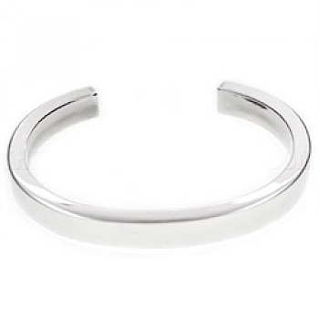 Boxed Silver C Bangle - 7.5mm Wide