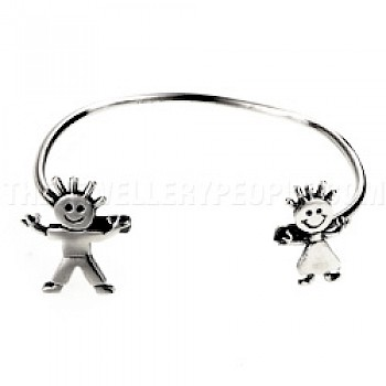 Boy & Girl Childs' Silver Bangle