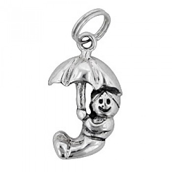 Boy with Umbrella Silver Charm