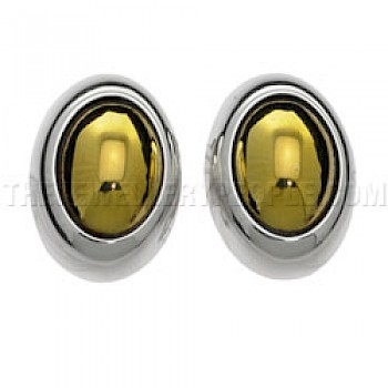 Brass & Silver Oval Clip-on Earrings - 15mm