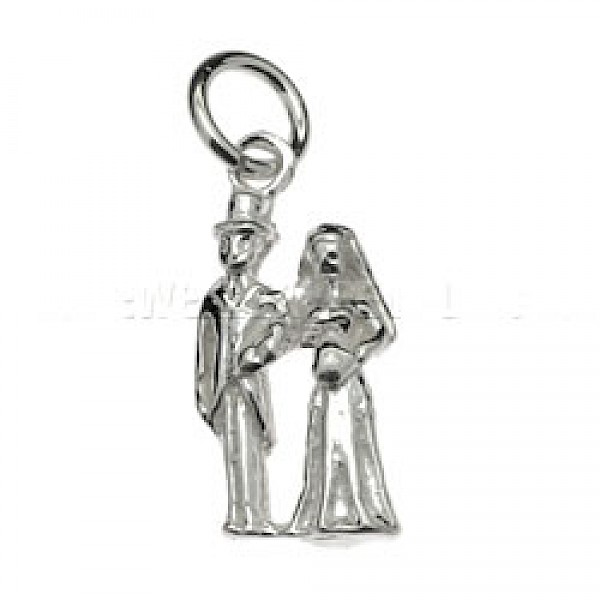Bride & Groom Silver Charm