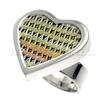 Tricolour Heart Silver Ring