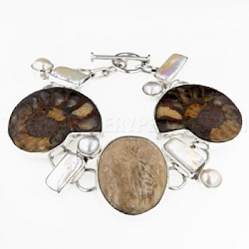 Brown Ammonite & Pearl Silver Bracelet