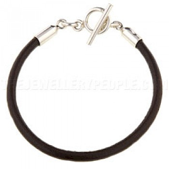 Brown Leather Bracelet - 4mm
