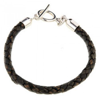 Brown Plaited Leather Bracelet - 6mm Two Tone