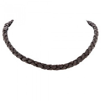 Brown Plaited Leather Necklace - 6mm