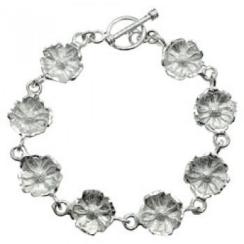 Brushed Silver Concaved Flowers Bracelet