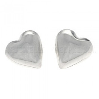 Bubble 3D Heart Silver Stud Earrings - 9mm