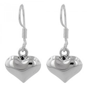 Bubble Heart Silver Drop Earrings - 35mm Long