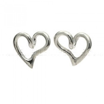 Bubble Heart Silver Stud Earrings - 11mm