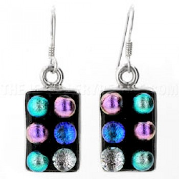 Bubbles Dichroic Glass & Silver Earrings