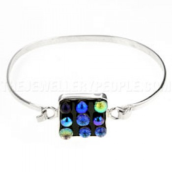 Bubbles Dichroic Glass Catch & Silver Bangle