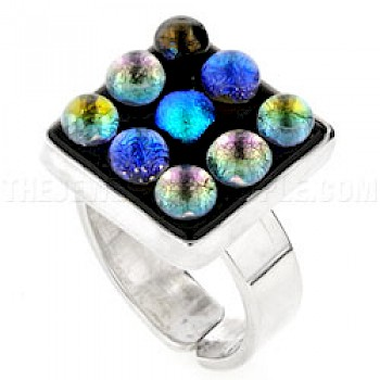 Bubbles Dichroic Glass & Silver Square Ring