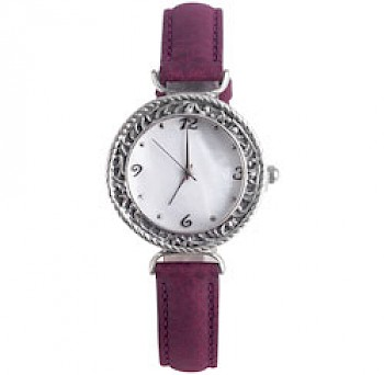 Burgundy Silver Watch
