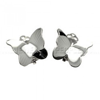 Butterfly Polished Silver Clip-On Earrings - 20mm