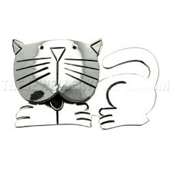 Cartoon Cat Silver Brooch - 55mm Wide